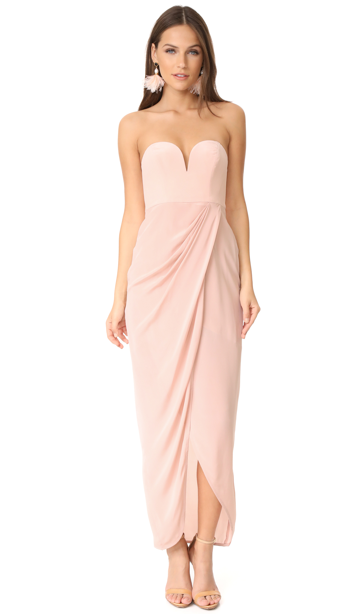 Zimmermann Strapless Drape Maxi Dress - Rosewater