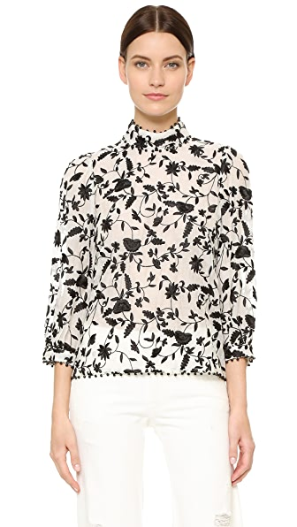 Zimmermann Master Embroidered Top - Black/Natural