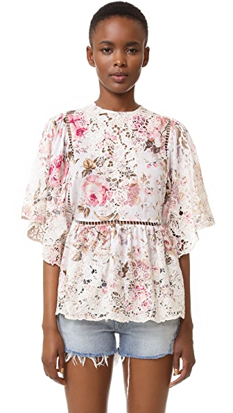 Zimmermann Eden Embroidered Top - Floral Embroidery