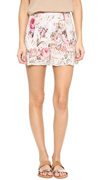 Zimmermann Eden Embroidered Flare Shorts - Floral Embroidery
