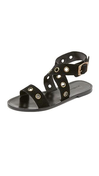 Zimmermann Eyelet Flat Sandals - Black