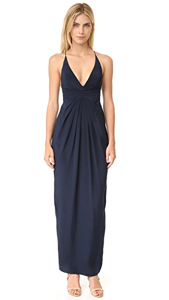 Zimmermann Silk Crossback Long Dress In French Navy