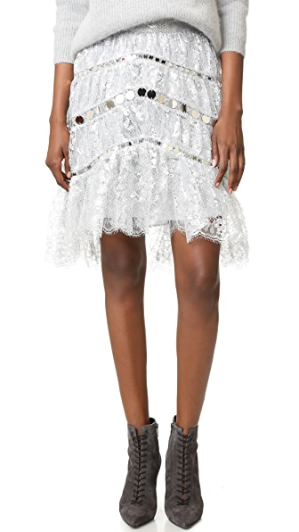 Zimmermann Adorn Crystal Lace Miniskirt - Silver