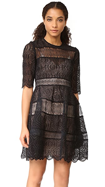 Zimmermann Adorn Embroidered Mini Bell Dress - Black
