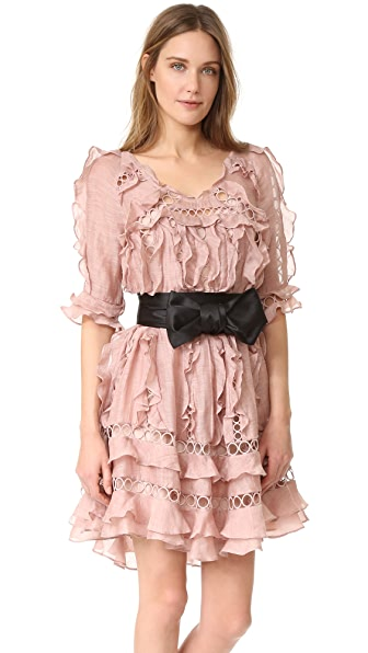 Zimmermann Winsome Ruffle Sphere Dress - Mink