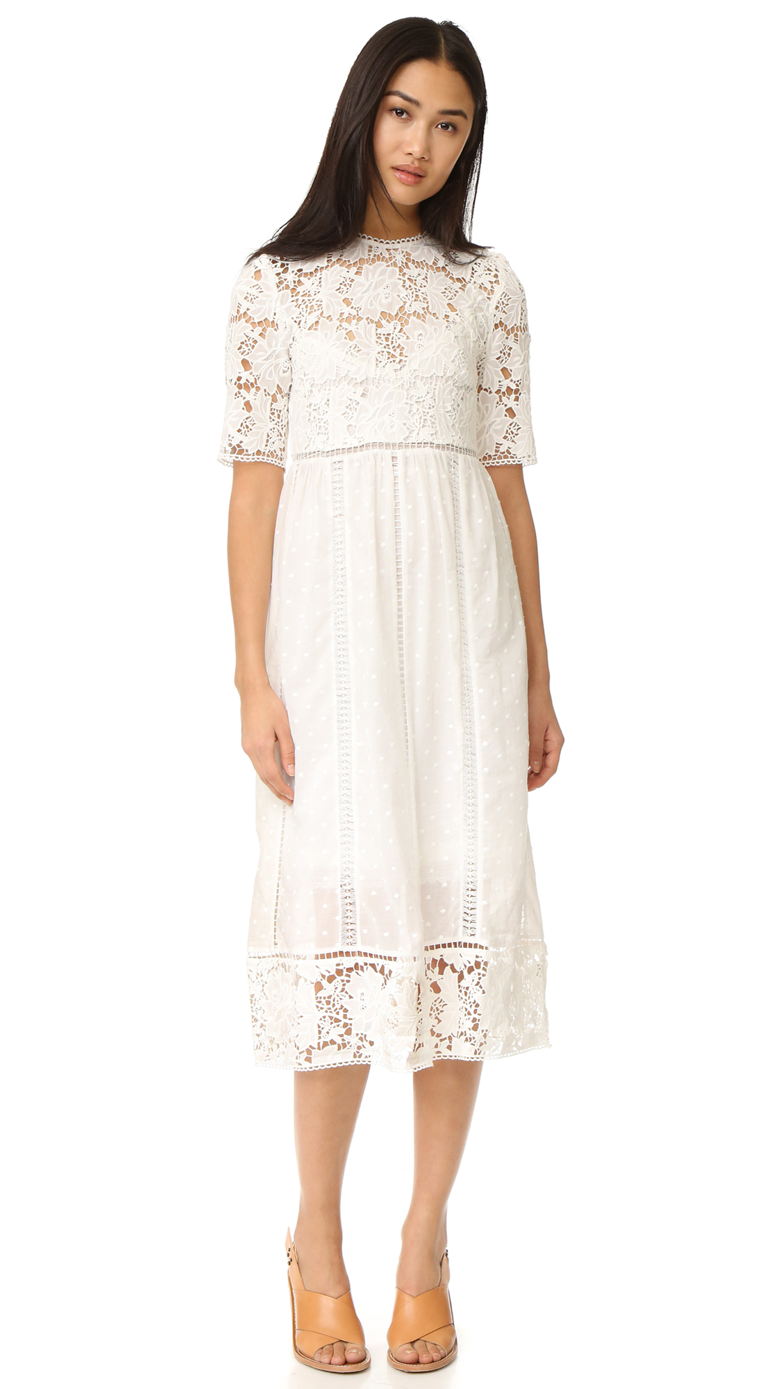 zimmermann female zimmermann caravan embroidered day dress ivory