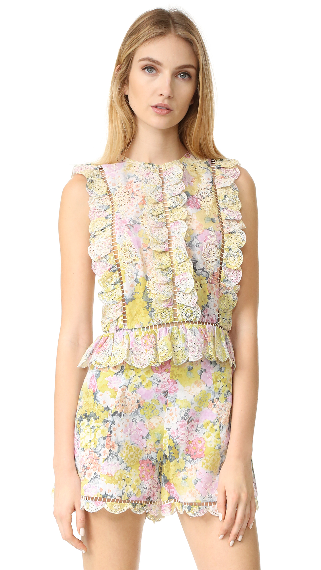 zimmermann female zimmermann valour hydrangea frill top floral embroidery