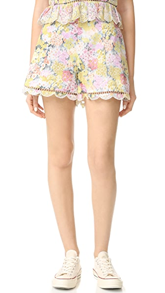 Zimmermann Valour Hydrangea Flare Shorts In Floral Embroidery