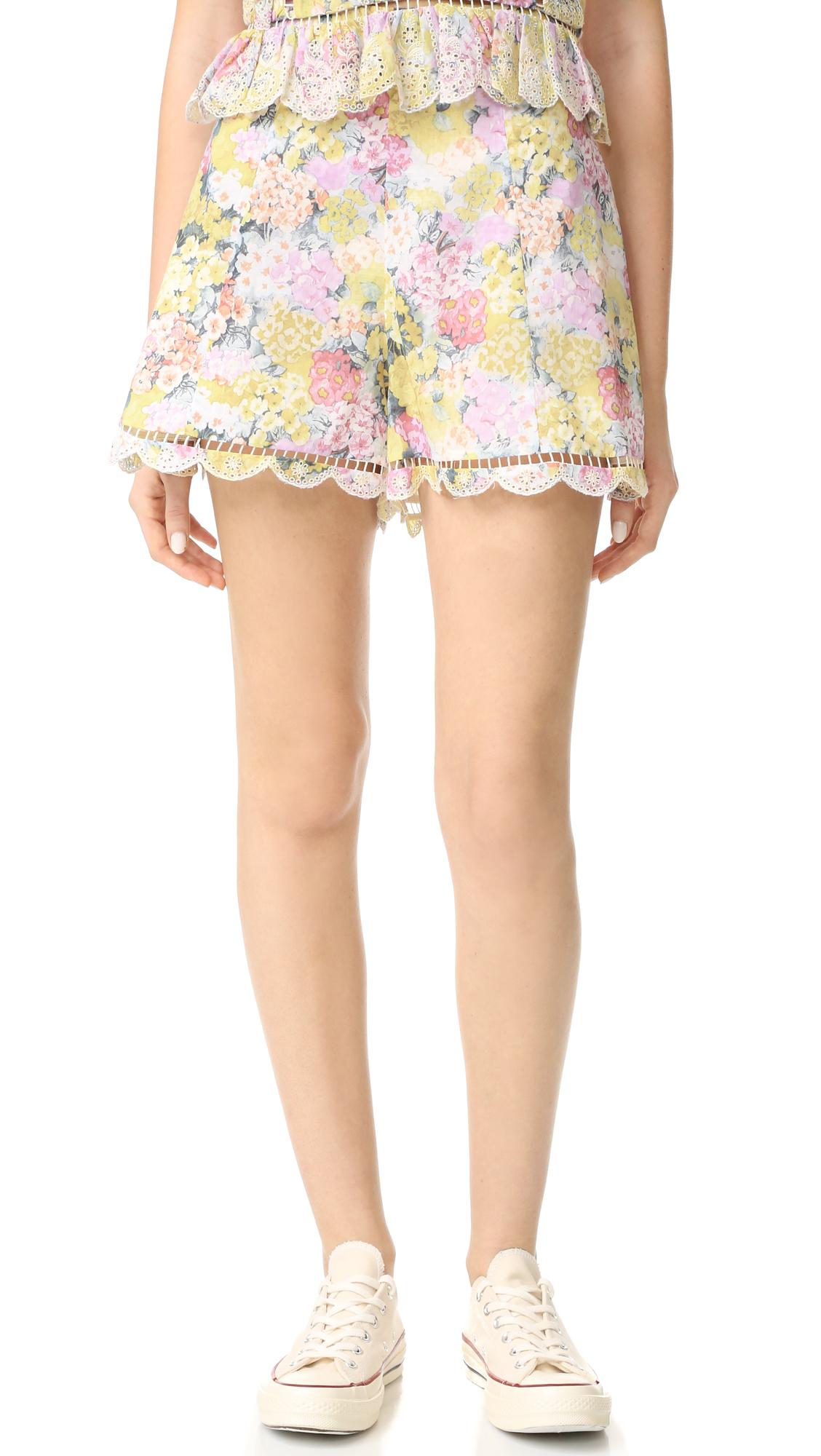 zimmermann female zimmermann valour hydrangea flare shorts floral embroidery