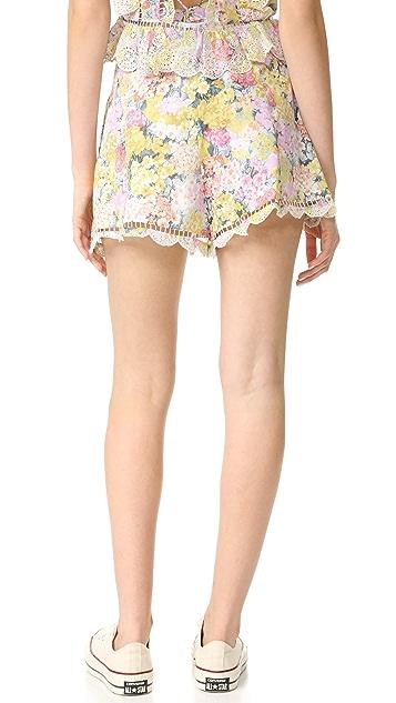 Zimmermann Valour Hydrangea Flare Shorts