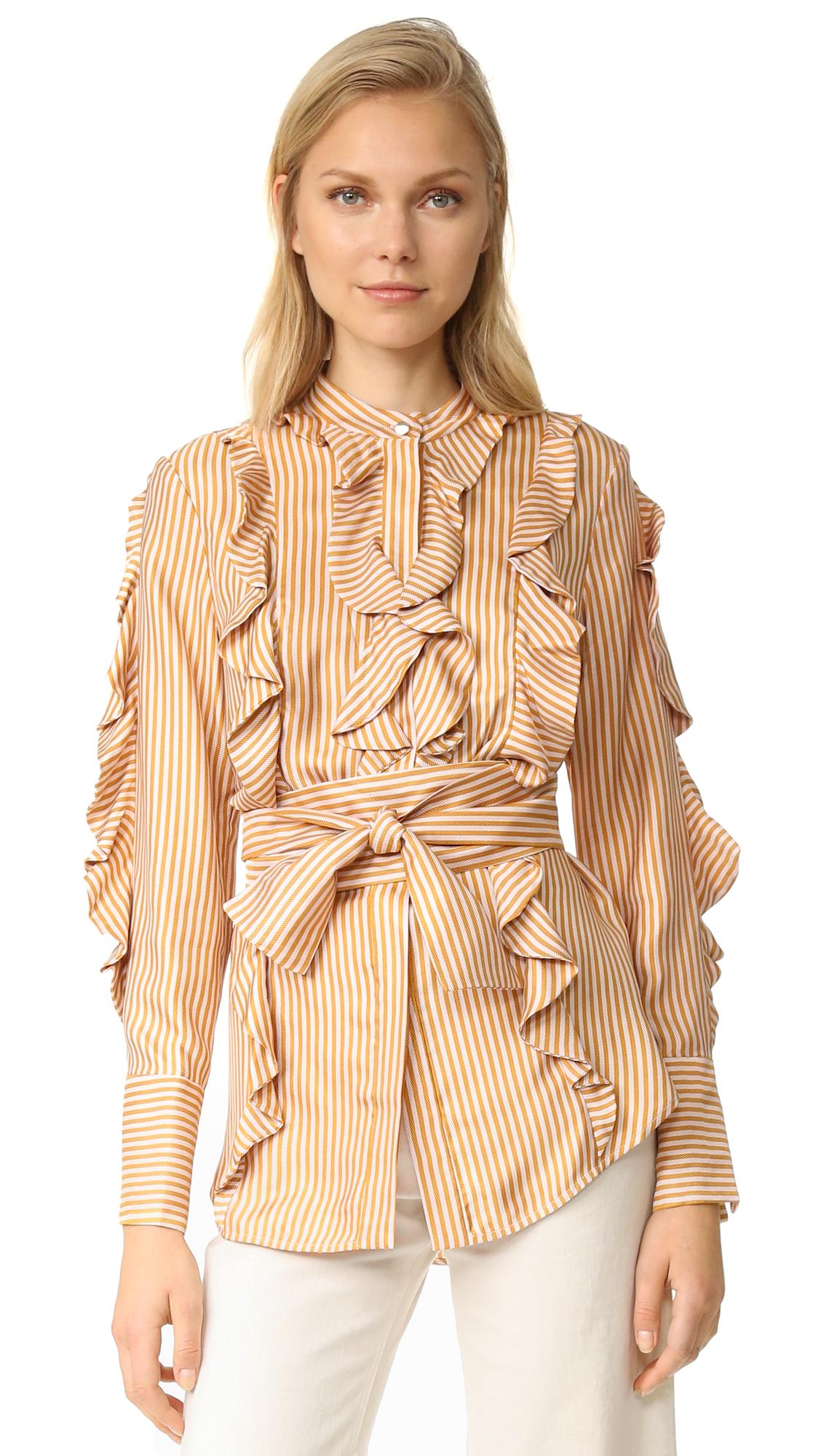 zimmermann female zimmermann winsome flounce shirt ambernude
