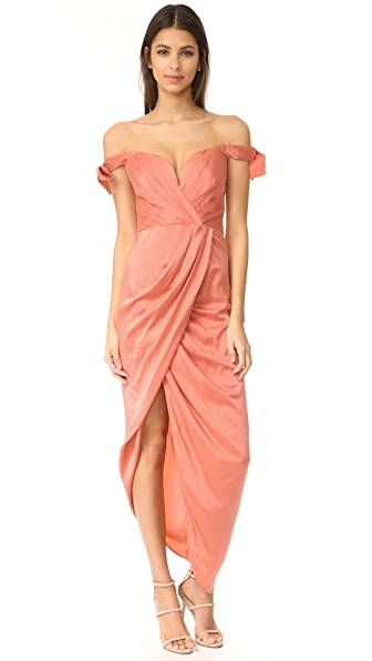 Zimmermann Winsome Drape Cocktail Dress - Guava