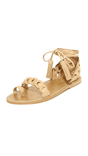 Zimmermann Link Tie Flat Sandals - Natural Tan