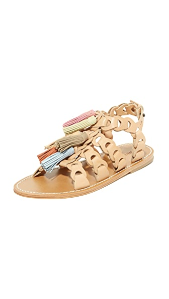 Zimmermann Link Tassel Flat Sandals - Natural Tan/Multi