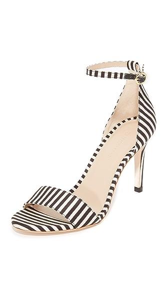 Zimmermann Printed Strap Sandals - Black/White Stripe