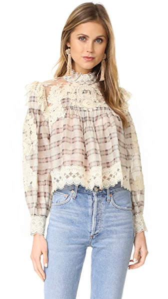 Zimmermann Bowerbird Plaid Blouse