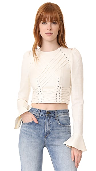 Zimmermann Cavalier Tie Up Blouse