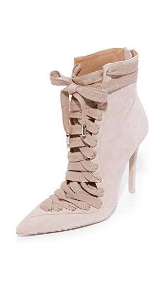 Zimmermann Lace Up Ankle Booties - Blush