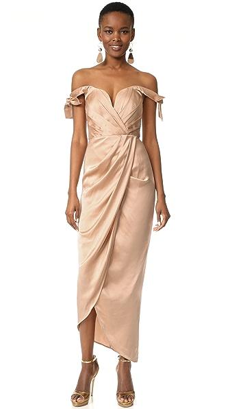 Zimmermann Winsome Drape Cocktail Midi Dress - Nude