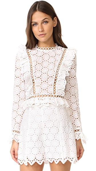 Zimmermann Divinity Wheel Frill Top - Ivory