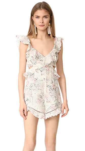 Zimmermann Jasper Honeycomb Romper In Floral
