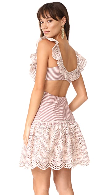 Zimmermann Meridian Stripe Frill Dress