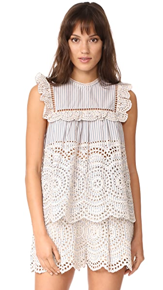 Zimmermann Meridian Stripe Frill Top