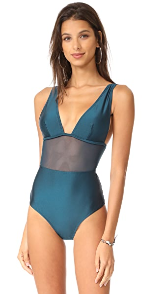 Zimmermann Wide Triangle Mesh Swimsuit In Petrol
