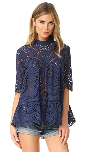 Zimmermann Paradiso Embroidered Blouse - Navy