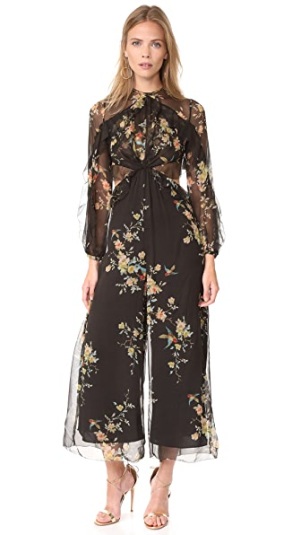 Zimmermann Maples Drift Jumpsuit In Blackbird Floral