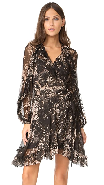 Zimmermann Maples Feathery Wrap Dress