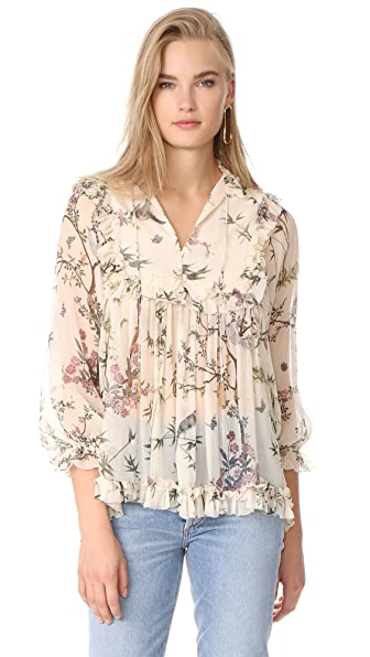 Zimmermann Maples Frill Top In Cream Floral