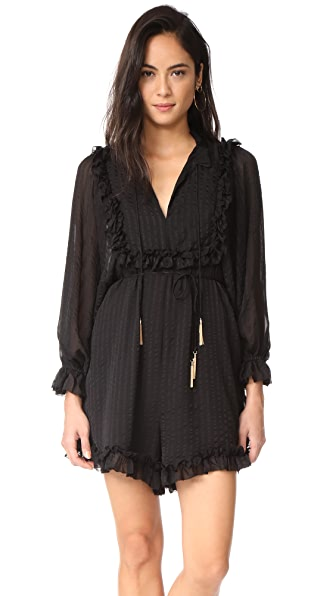 Zimmermann Maples Frill Romper In Black Stripe
