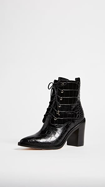 Zimmermann Lace Up Dress Booties - Black