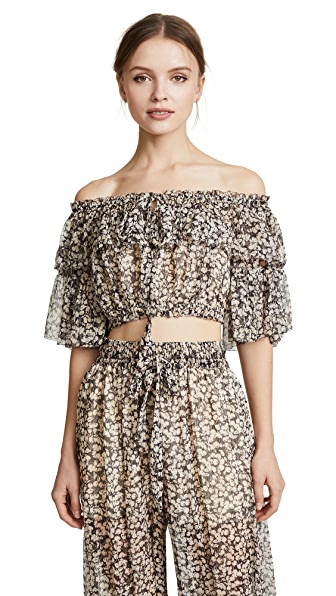 Zimmermann Prima Cherry Crop Top In Cherry Floral
