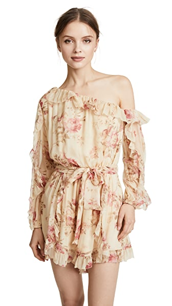 Zimmermann Corsair Whimsy Romper In Cream Floral