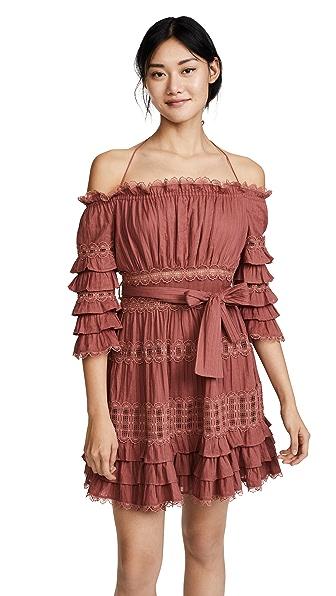 Zimmermann Corsair Frill Tier Dress In Vintage Rose