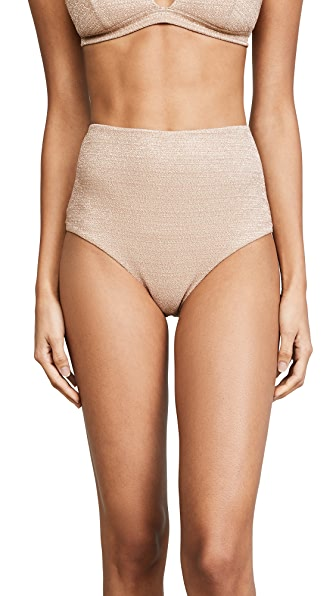 Zimmermann Separates Metallic High Waisted Bottoms In Nude