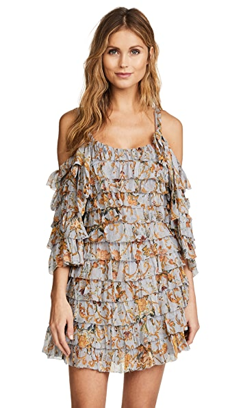 Zimmermann Painted Heart Ra Ra Mini Dress In Blue Grey Tapestry