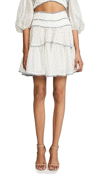 Zimmermann Painted Heart Contour Skirt In Cream/Cloud Blue