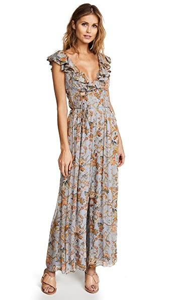 Zimmermann Painted Heart Cascade Jumpsuit In Blue Grey Tapestry