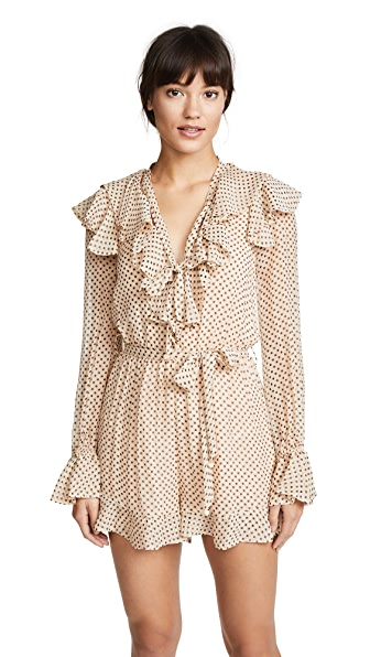 Zimmermann Painted Heart Cascade Playsuit In Peach/Charcoal
