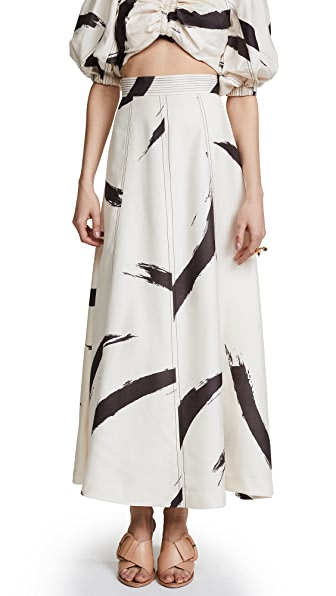Zimmermann Painted Heart A-Line Skirt In Cream Brushstroke