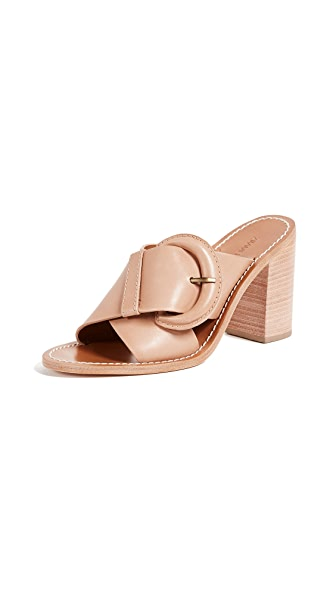Zimmermann Buckled Mules In Natural Tan