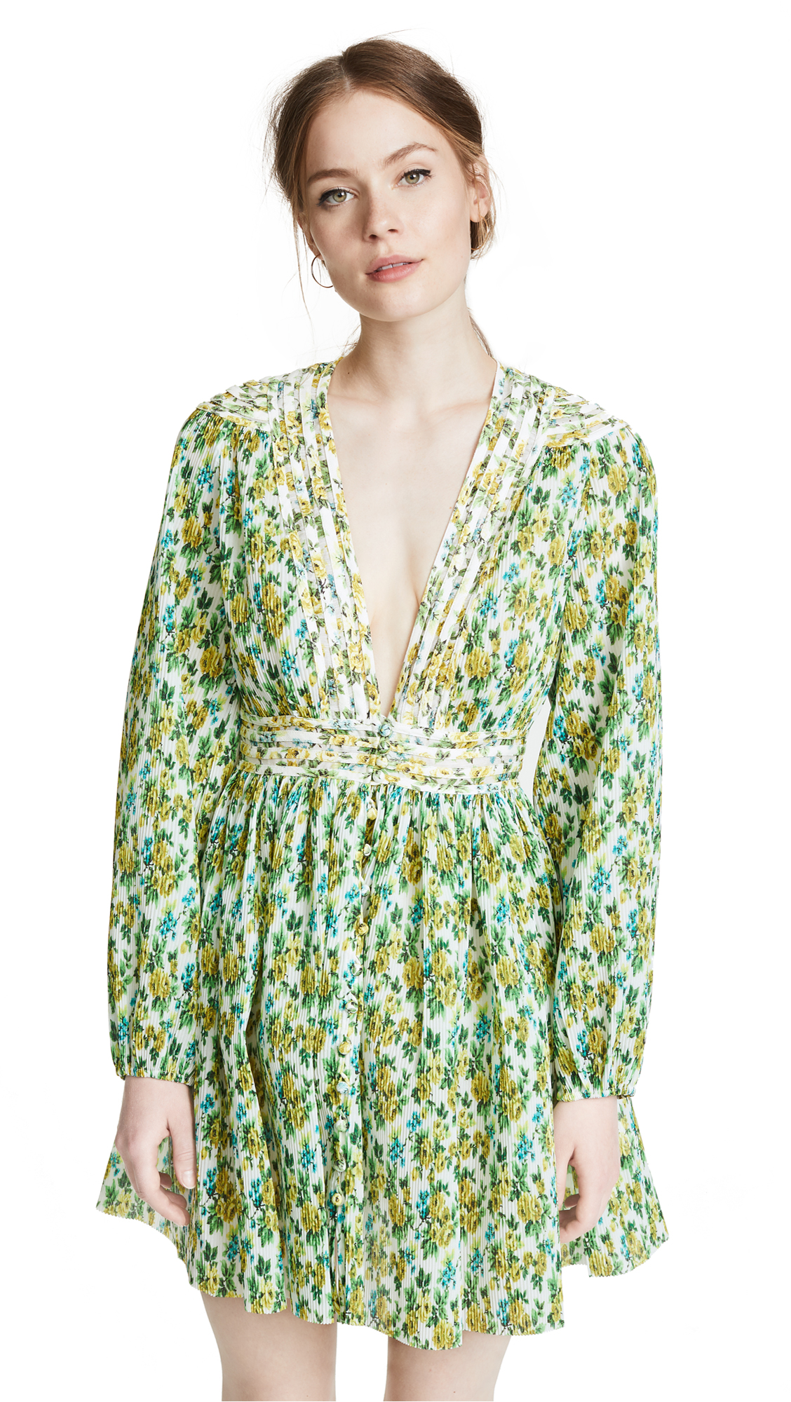 Zimmermann Golden Plisse Mini Dress