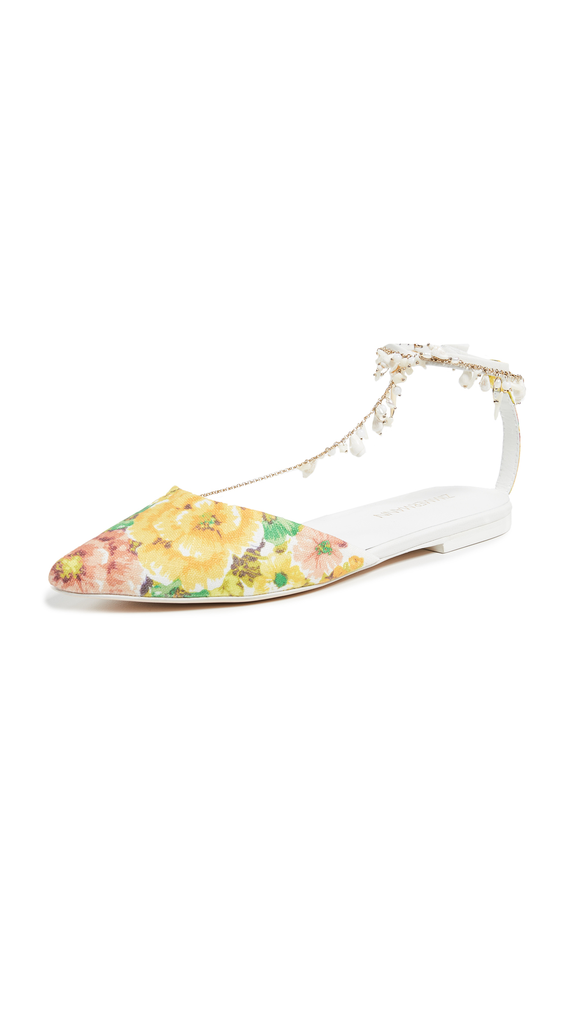 Zimmermann Goldentime Pointed Flats - Citrus Stamp