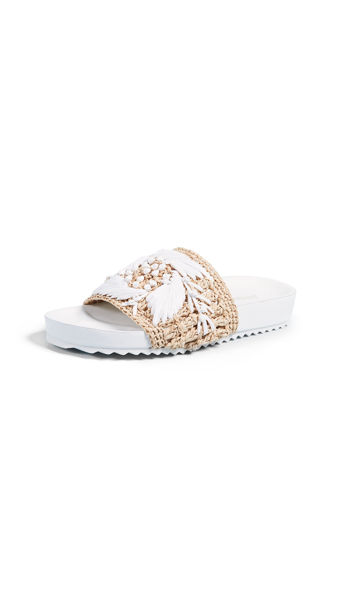 Zimmermann Raffia Pool Slides In Ivory