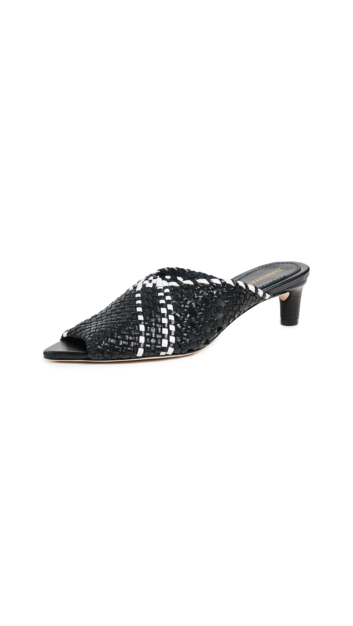 Zimmermann Kitten Heel Mules - Black/White