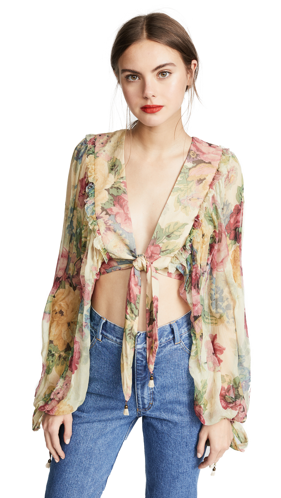 Zimmermann Melody Tie Front Top - Taupe Floral
