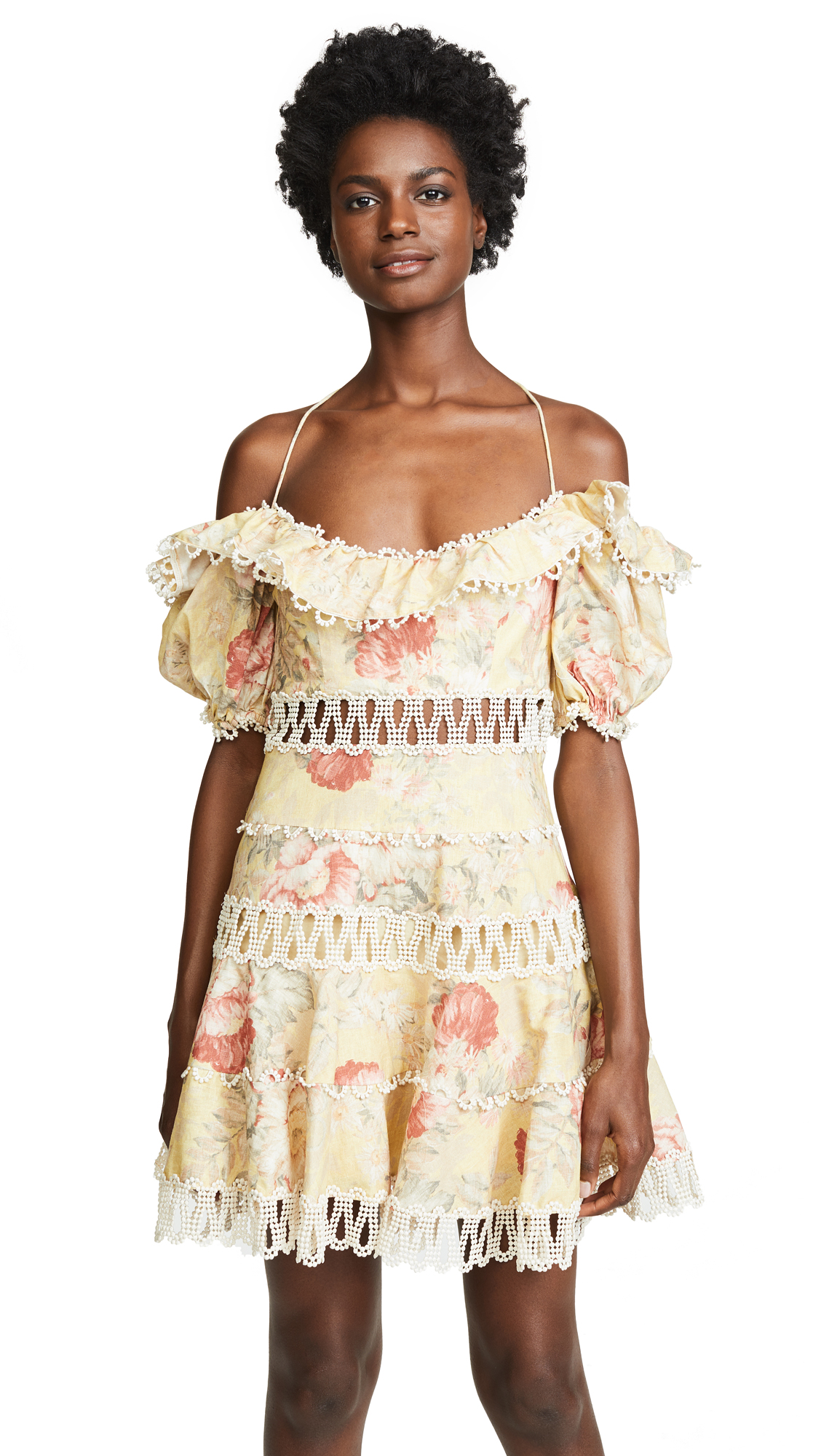Zimmermann Melody Off Shoulder Dress - Mustard Floral